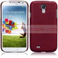 Capa Rigida Traseira (Plastico c/Revestimento em Pele Sintetica) Para Samsung Galaxy S4 IV I9500 Vermelha