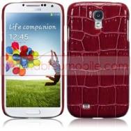 Capa Rigida Traseira (Plastico c/Revestimento em Pele Sintetica) Para Samsung Galaxy S4 IV I9500 Vermelha Crocodilo