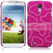 """Capa Rigida Traseira """"Brilhantes"""" Para Samsung Galaxy S4 IV I9500 Rosa c/Corações"""