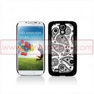 Capa Rigida Traseira Para Samsung Galaxy S4 IV I9500 Preta c/ Padrão Folclorico Branco e Preto