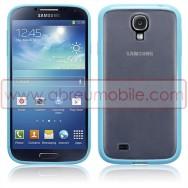 Capa Rigida Traseira Branca Transparente Samsung Galaxy S4 IV I9500 c/ Laterais Maleaveis Em Gel Azul