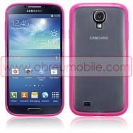 Capa Rigida Traseira Branca Transparente Samsung Galaxy S4 IV I9500 c/ Laterais Maleaveis Em Gel Rosa