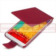 "Bolsa / Capa Flip Cover Pele Sintetica  ""Fina"" Para SAMSUNG GALAXY NOTE 3 III N9000 N9002 N9005 Vermelha"