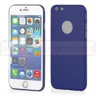 "Bolsa / Capa Plastico/Policarbonato Semi-Rigida Fina c/ Efeito Carbono Para APPLE IPHONE 6 PLUS / 6s PLUS - 5.5"" Azul"