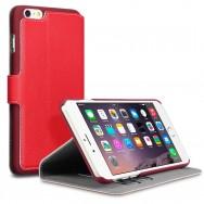Bolsa / Capa Pele Sintetica Flip Cover Horizontal Fina c/ Função Cavalete Para HTC ONE MINI 2 Vermelha