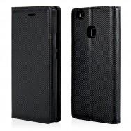 Bolsa / Capa Pele Sintetica Flip Cover Horizontal Fina Texturada c/ Suporte em Gel e Função Cavalete v42 Para HTC DESIRE 10 LIFESTYLE Preta