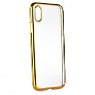 Capa Silicone Gel Lustrosa Para SONY XPERIA XA Dourada e Transparente