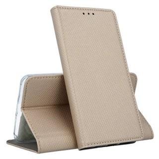 """Bolsa / Capa Pele Sintetica Flip Cover Horizontal Fina Texturada c/ Suporte em Gel e Função Cavalete Para LG K9 (5.0"""") Dourada"""